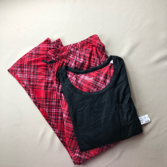 Women/'s Croft /& Barrow Red Plaid Flannel Two Piece Pajama Set XXL NWT